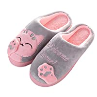 ZAPZEAL Unisex Cute Cat Slippers Winter Plush Slippers Anti-Slip Shoes for Women and Men