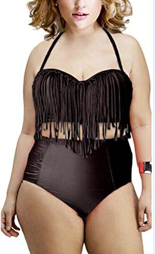 Femmes rétro taille haute frange tressé Haut de Bikini taille: Noir - Noir