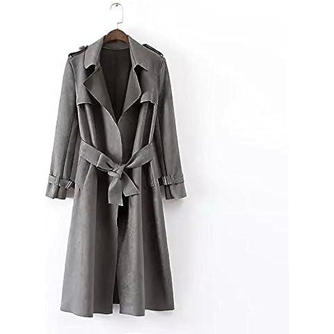 ZZHH Solapa de la mujer con prendas de abrigo abrigo abrigo de ante de correa . gray . s