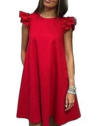 31f3f58cb107 YELINGYUE Primavera Estate Lotus Leaf Abito A Manicotto O Collo Rosso Nero  Bianco I Vestiti Per