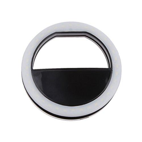 LED Selfie Kamera Licht Smartphone Licht Fotolicht Lampe Ringlicht Ringleuchte 36 LEDs für iPhone 6 6S - Schwarz, 84mm