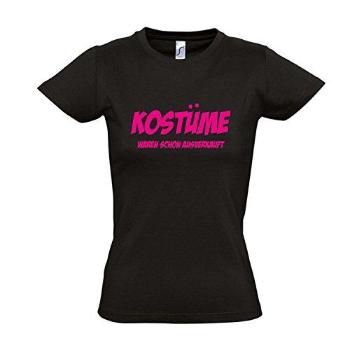 Damen T-Shirt - Kostüme waren schon ausverkauft FASCHING, KARNEVAL, PARTY SHIRT S-XXL , Deep black - pink , L