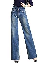 QCHENG Femme Jeans Bootcut Taille Haute Push Up Evasée Jambe Large Pantalons  en Denim Confortable Casual 679fbb21838f