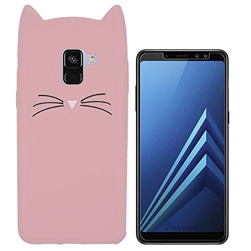 Hcheg Hülle für Samsung Galaxy A8 2018 Duos (A530F/DS) - 3D Silikon Backcover Case Handy Schutzhülle - Cover Klar Katze Design Rosa/Schwarz + 1X Screen Protector