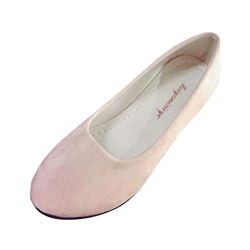 FNKDOR Damen Geschlossene Ballerinas Klassische Flache Elegant Schuhe(35,Pink)