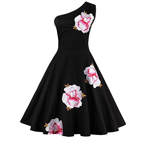 Kimring Women's Vintage One-shoulder Embroidery Floral Cocktail Party Dress Nero