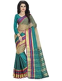 Venisa Women's Poly Cotton Saree With Blouse Piece (A004_ Multcolour)