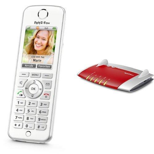 AVM FRITZ!Fon C4 Telefon (Farbdisplay, beleuchtete Tastatur) weiß und AVM FRITZ!Box 7430 Set (VDSL-/ADSL2+, WLAN N, 450 MBit/s (2,4 GHz), TK-Anlage für Voice over IP mit DECT-Basis, Mediaserver)