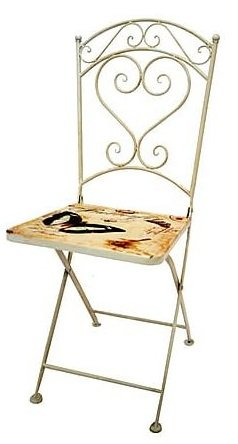 MAXIOCCASIONI Chaise en Fer Blanc