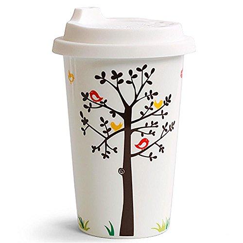 MITU Thermische Isolierung und heiße schöne Keramik-Becher mit Deckel, kreative Becher, Tassen, Hand-Tassen, Schnabeltassen, glückliche Baum 4