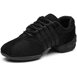 HIPPOSEUS Zapatos Modernos de La Danza del Jazz/Zapatillas de Deporte/Zapatos Elegantes de La Danza Para Las Señoras de Las Mujeres,EST01A,Negro,EU 37