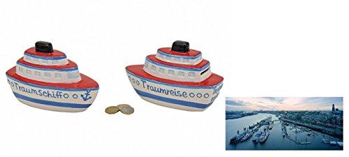 """Preisvergleich Produktbild Porzellan Spardose """"Schiff"""" 2er Set & XXL Geo Postkarte """"Wasserzauber"""" - Set ~"""