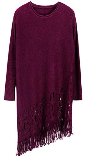 Vogueearth Femme's Longue Manche Crew Neck Knit Tassel Sweater Chandail Tricots Pullover Du Vin