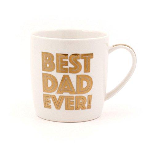 Golden Words Mugs Tasse en Porcelaine Fine avec Inscription « Best Dad Ever » Blanc et doré avec boîte de présentation