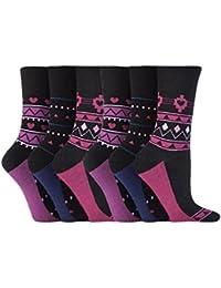 Gentle Grip - 6 paires Femme sans élastique diabétiques chaussettes pas de caoutchouc non comprimantes 37-42 eur