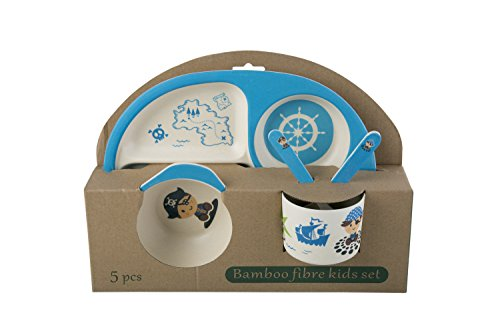 MStick Baby Kids Safe Eco-Friendly Biodegradable Kids Pirate Character Printed Dinnerware Set Of 5 Pieces For Kids
