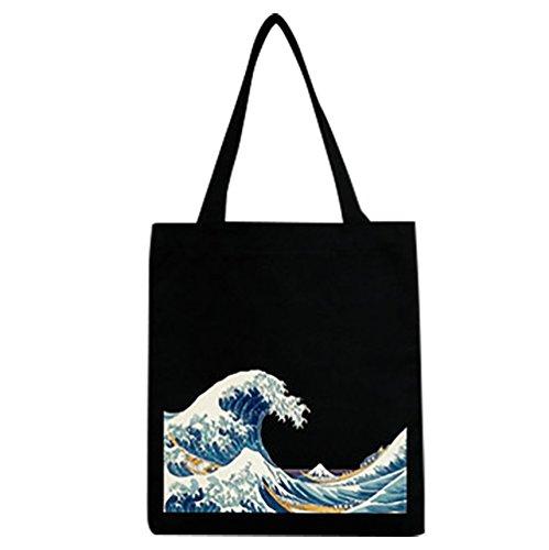 Baymate Donne Borsa Della Spesa Riutilizzabile Shopping Bag Con Stampa Nero De Descuento Encontrar Gran vDdYzxL