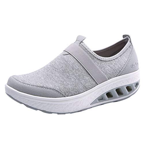 Las Mujeres Zapatos Casuales de Verano Plataforma Plana resbalón en cuñas Bajas Superiores Zapatillas de Deporte Femenino Ligero Transpirable Zapatilla de Deporte al Aire Libre
