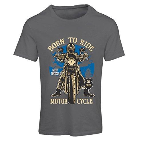 Frauen T-Shirt Live Young - Die Free - geboren, Motorrad zu Fahren, Geschenkideen für Biker, inspirierende Slogans (XX-Large Graphit Mehrfarben)