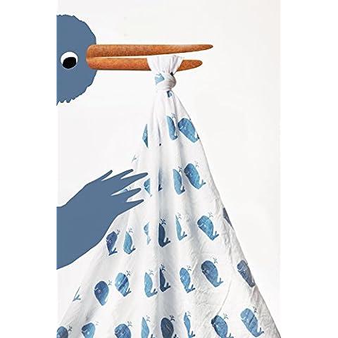 milkii Swaddle garza asciugamano 100% Mussola di cotone, 120x 120cm, balena