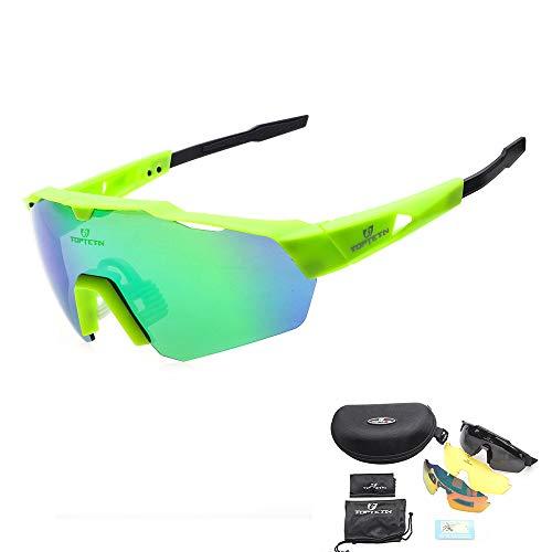 c69d017916 Toptotn Lentes de Sol polarizadas para Deportes Lentes Intercambiables para  Hombres Mujeres Ciclismo Correr Conducir Pescar