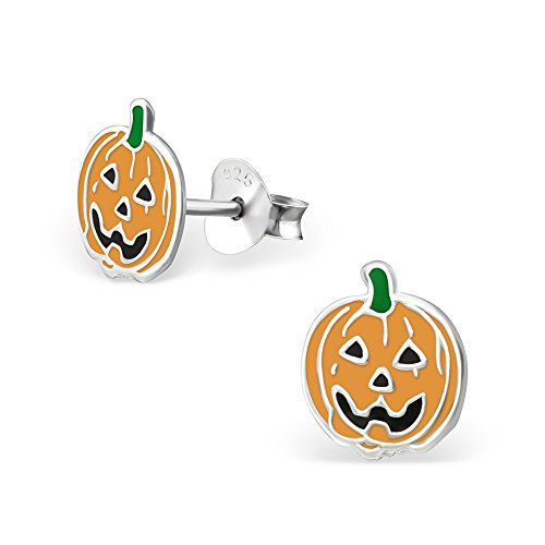 Monkimau 925 Sterling Silber Halloween Kürbis Ohrringe Kinder-Schmuck Kinder-Ohrstecker Damen Frauen Mädchen-Ohrstecker (Halloween-ideen 2019 Die Jungs)