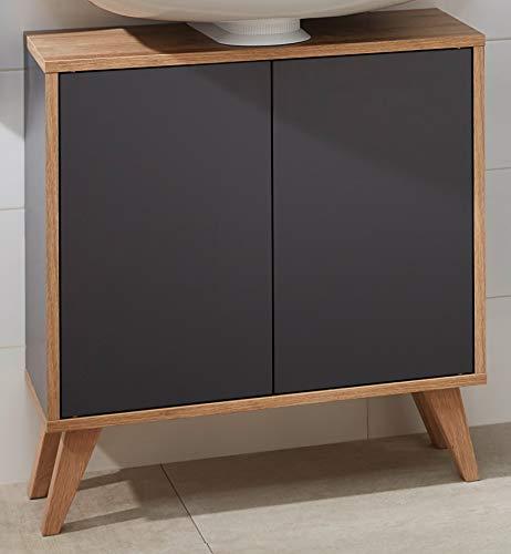FACKELMANN Finn Badmöbel Set 2 Teile/Waschbeckenunterschrank mit Push-to-Open / 4 Holzfüße/Badschrank mit 2 Türen/Korpus & Front: Schwarz/Rahmendekor & Füße: Braun hell/Breite: 60 cm -