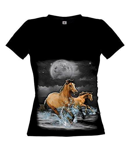 Ethno Designs Horse Wilderness - Cheval Streetwear T-shirt pour Femmes - Motif d'animal Shirt Noir
