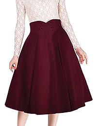 Miusol Damen Elegant Faltenrock Zweireiher Causal Business Vintage 1950er Jahr Röcke