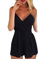 Sannysis Monos mujer body de sin mangas, Pantalones cortos, color negro (2XL)