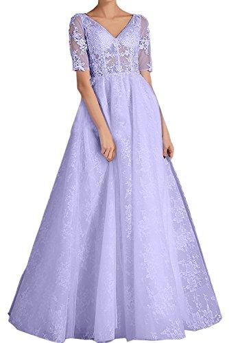 TOSKANA BRAUT Romantisch Neu 2017 VNeck Spitze Durchsichtig  Hochzeitskleider Brautkleider Lang Abendkleider mit Kurzarm Lavender