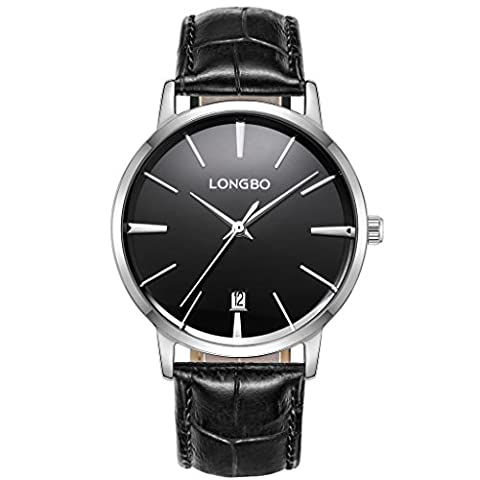 LONGBO Luxury Men's Black Croco Leather Band Analog Quartz Business Watch Auto Date Calendar Silver Case Couple Dress Watch Waterproof Black Dial Wristwatch For Man