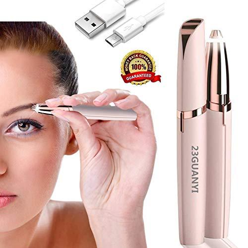 Eléctrica Depiladora Cejas,Ceja Recortador Flawless,Eyebrows Trimmer Mujer Depiladora Facial Para,Depilacion de Cejas Carga USB (Dorado)