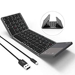 Folding Bluetooth Keyboard, Jelly Comb B003B Rechargeable USB Wired & Bluetooth Keyboard Dual Mode UK Layout with Touchpad (Dark Gray) - Upgraded Version