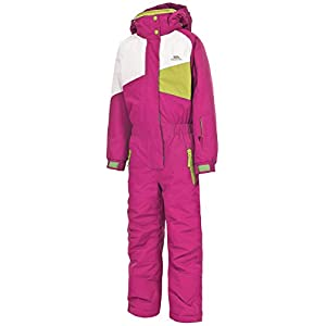 Trespass Wiper, Bubble Gum, 5/6, Water Repellent Ski Suit with Removable Hood, Gaiters & Ankle Zips Kids Unisex, Age 5-6, Pink