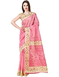 Shiroya Brothers Women's Cotton Silk Saree With Blouse Piece (Ab-2, Pink, Free Size)