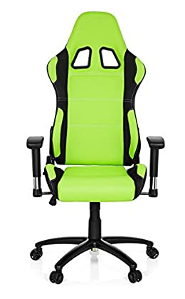hjh OFFICE 729310 silla gaming GAME FORCE tejido negro / verde silla de oficina reclinable silla escritorio