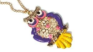 Za -Ya CHY- 22 hibou d'or - couleur avec les ailes pourpres