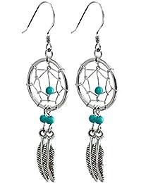 Dream Catcher - véritables pierres turquoises - Magnifique dessin et fini à la main à une haute finition joaillerie. Emballé dans une jolie pouchette en velours