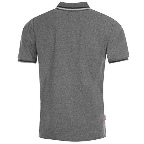 Slazenger Herren Polo Shirt Kurzarm Streifen Details Dunkelgrau Marl