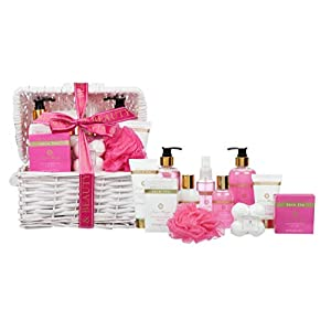 11 Piece Luxurious Patchouli & Pink Peppermint Body & Bath Spa Basket Gift Set – Includes all Bathing Essentials…