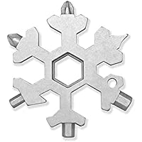 99native 19 in 1 Schnee Schlüsselbund Werkzeug Multifunktions Edelstahl Pocket Outdoor Handwerkzeuge,Multitool Stahl Schneeflocken Werkzeug Edelstahl Multi-Tool-Snowboard (Silber)