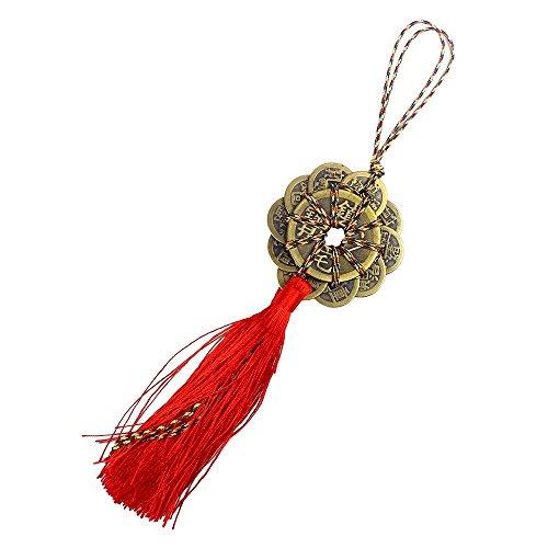Messing Crafts Chinesische Glücksmünzen Ching Münzen Knoten verheißungsvollen rot Kordel Home Decor Geschenk, Messing, gold, A -