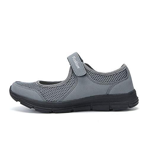 en Freizeitschuhe Keilabsatz Leicht Walking Schuhe Plateau Turnschuhe Mesh Fitness Sneaker Laufschuhe Sommer Atmungsaktiv Espadrilles Größe 35-42(Dunkelgrau,41 EU) ()