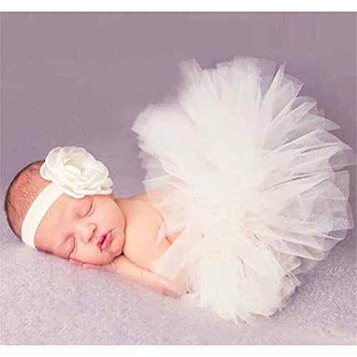 Preisvergleich Produktbild Hengsong Neugeborenes Baby Rock Tutu Kleidung Trikot Kostüm Foto Prop Outfits Bekleidung Set (Beige)