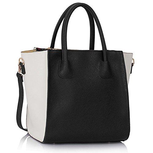 LeahWard® Groß Damen Tragetaschen nett Groß Marke Handtaschen 61 (Weiß/Schwarz A) (Weiß Chloe Handtasche)
