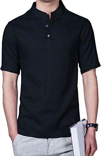 Hoerev marca men casual manica corta in lino slim fit camicie camicie beach