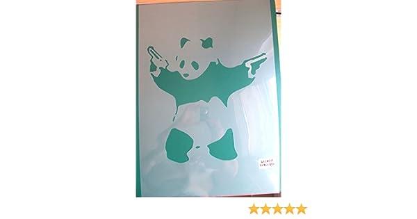 Plastique XLARGE id/éal 21.3 x 21.3 inches Banksy pandamonium Panda Guns Pochoir pochoirs
