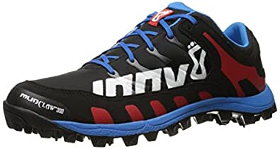 inov-8 Men's Mudclaw 300 CL Trail Running Shoe, Black/Blue/Red, 4 UK