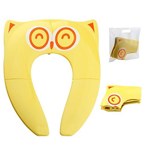 faltbare toilette Faltbarer Toilettensitz Kinder Toilettentrainer, Gimars Reise WC Sitz Toilette Töpfchen für unterwegs (Gelb)